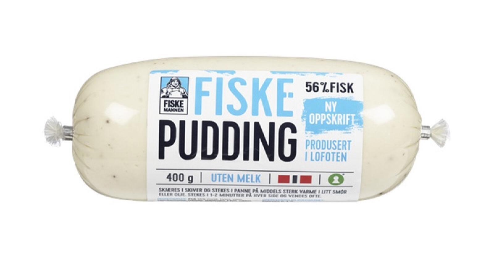 Unil tilbakekaller Fiskemannen Fiskepudding uten melk med holdbarhet 30. september 2021, da produktet kan inneholde spor av melk.Foto: Unil / NTB