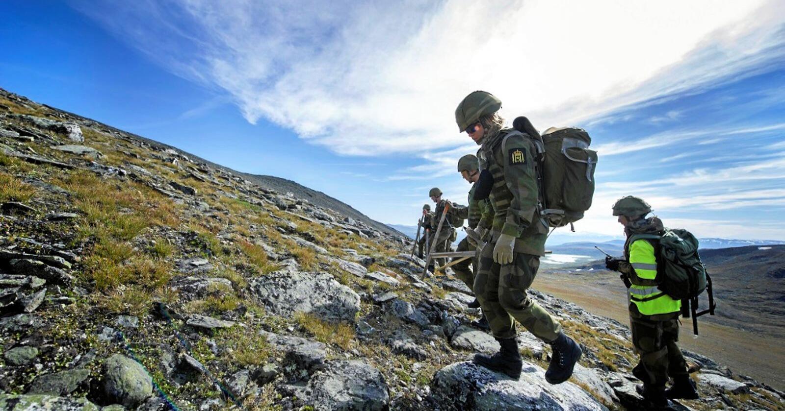 Soldater rydder opp: Den største naturrestaureringa i Norge noensinne er nå helt i sluttfasen på Hjerkinn på Dovrefjell. Blant annet har 15000 soldater gått manngard og fjernet 4666 livsfarlige blindgjengere fra området. Foto: Marthe Brendefur / Forsvaret