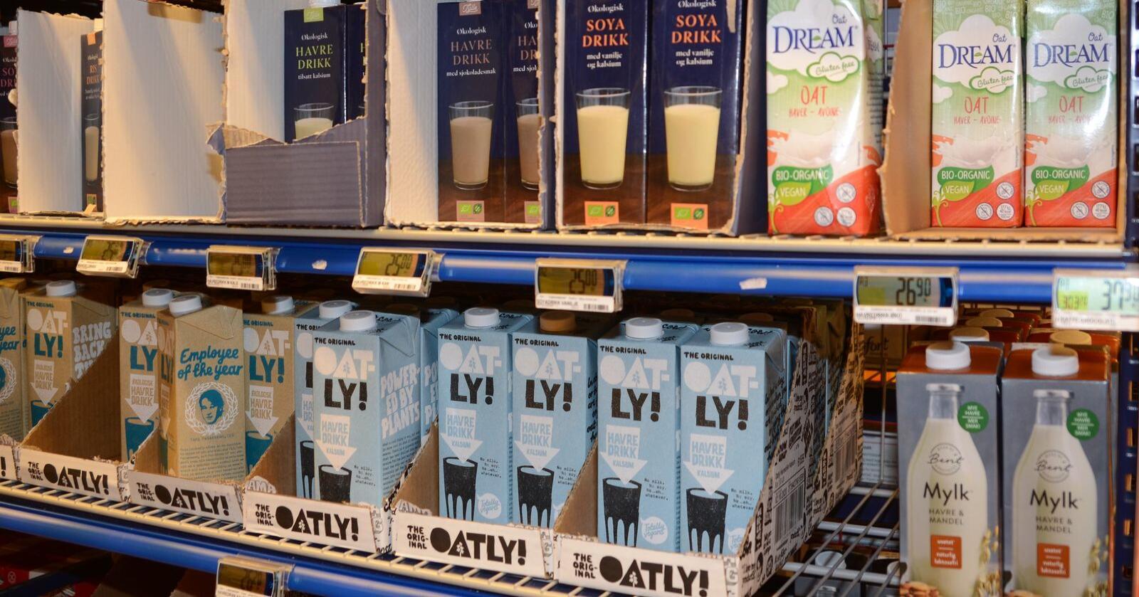 Øker: Salget av plantebasert drikke øker. Serien Gryr er Tines egne veganvarer. (Foto: Linda Sunde)