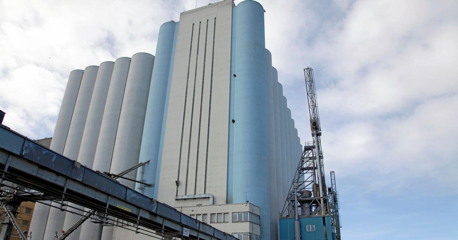 Norges største kornlager kan bli solgt til boligformål. Foto: Norgrain