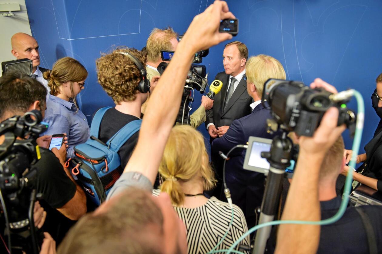 Presset: Den svanske statsministeren Stefan Löfven er under hardt press på grunn av den store IT-skandalen som nå rulles opp. Foto: Stina Stjernkvist/TT/NTB scanpix