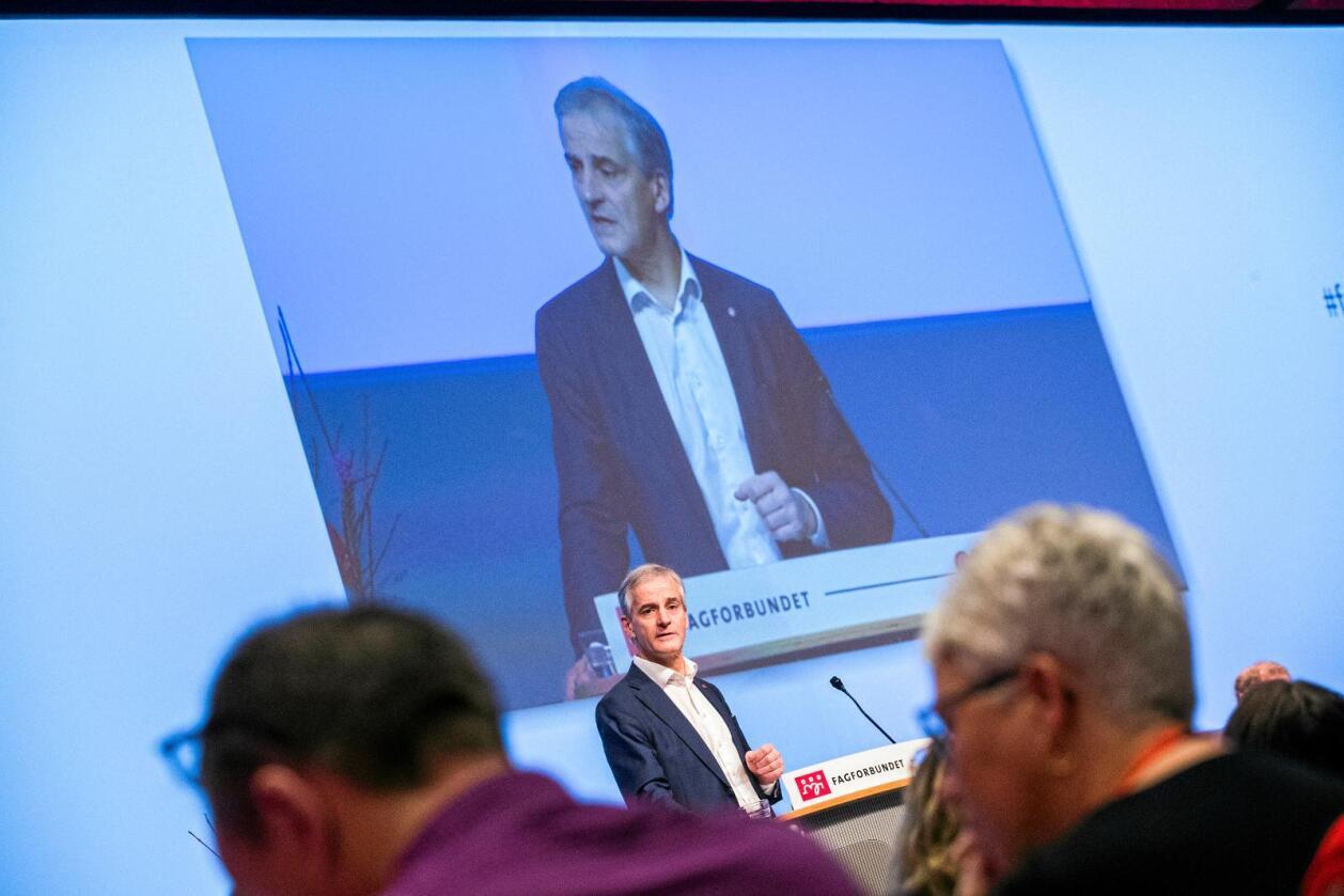 Ap-leder Jonas Gahr Støre lovte på landsmøtet til Fagforbundet i oktober en tøffere linje mot EØS. Foto: Håkon Mosvold Larsen / NTB scanpix