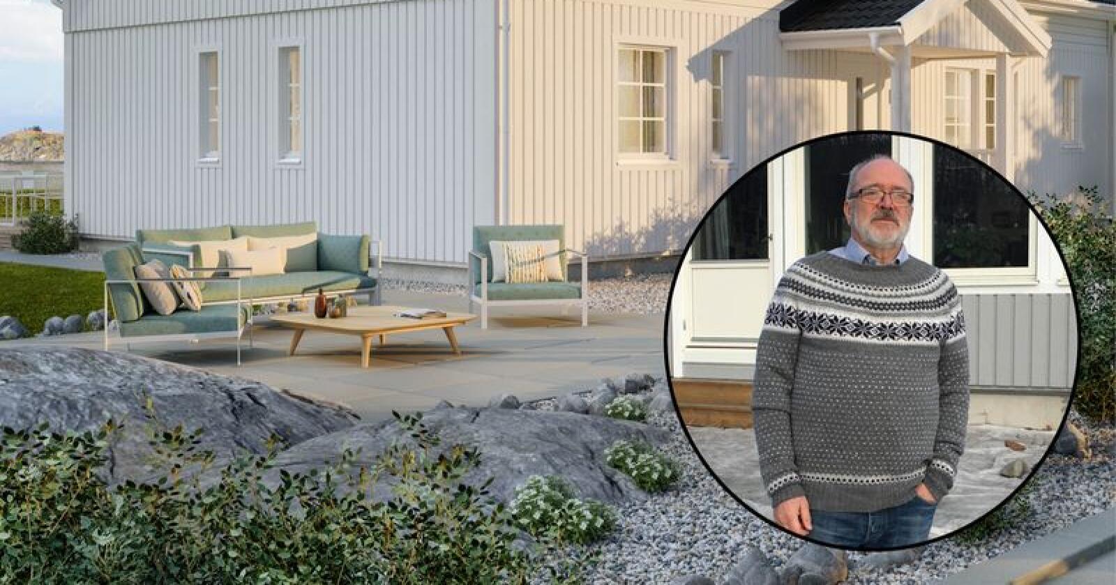 Illustrasjonsfoto av husmodellen Astrid. Huseier Svein Losnegård innfelt. (Foto: privat)