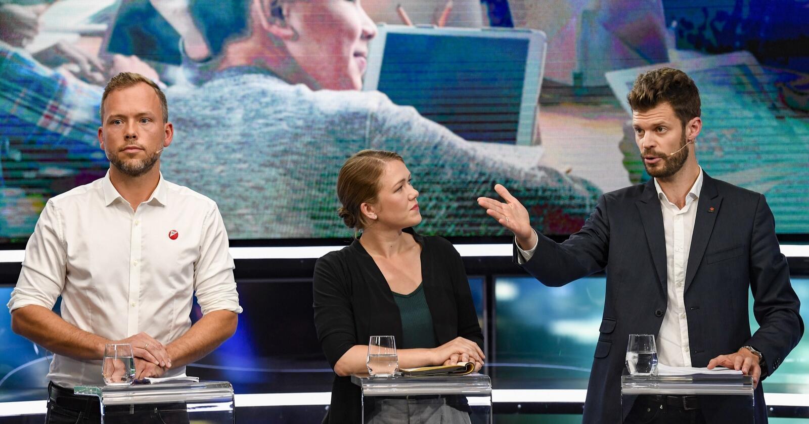 Skal Jonas Gahr Støre (Ap) og Trygve Slagsvold Vedum (Sp) få flertall på Stortinget, viser Nationens junimåling at de vil bli avhengig av enten SV, MDG eller Rødt. Foto: Marit Hommedal / NTB