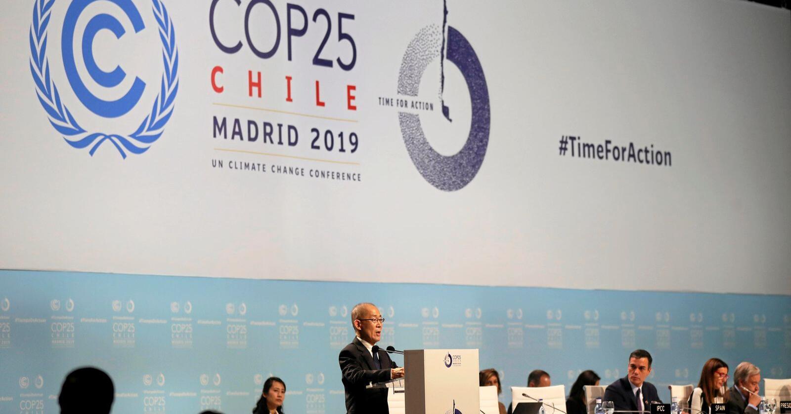 Klimaforhandlinger: De internasjonale klimaforhandlingene, som ble flyttet fra Chile til Spania, er nå i gang. Foto: Manu Fernandez/AP/NTB scanpix