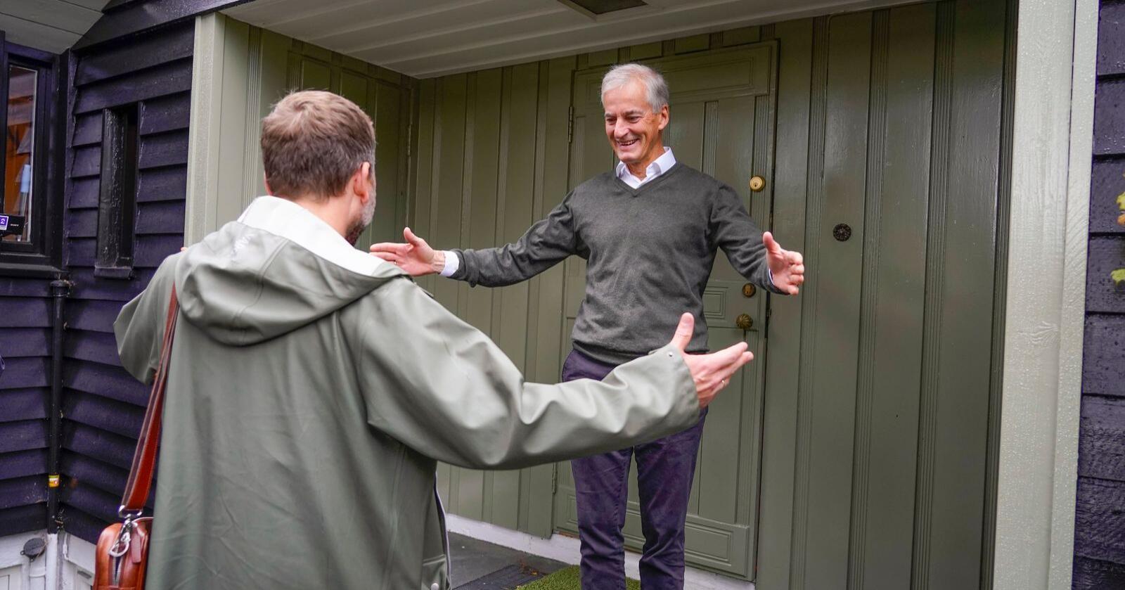 Ap-leder Jonas Gahr Støre og SV-leder Audun Lysbakken møtes hjemme hos Støre. Foto: Heiko Junge / NTB