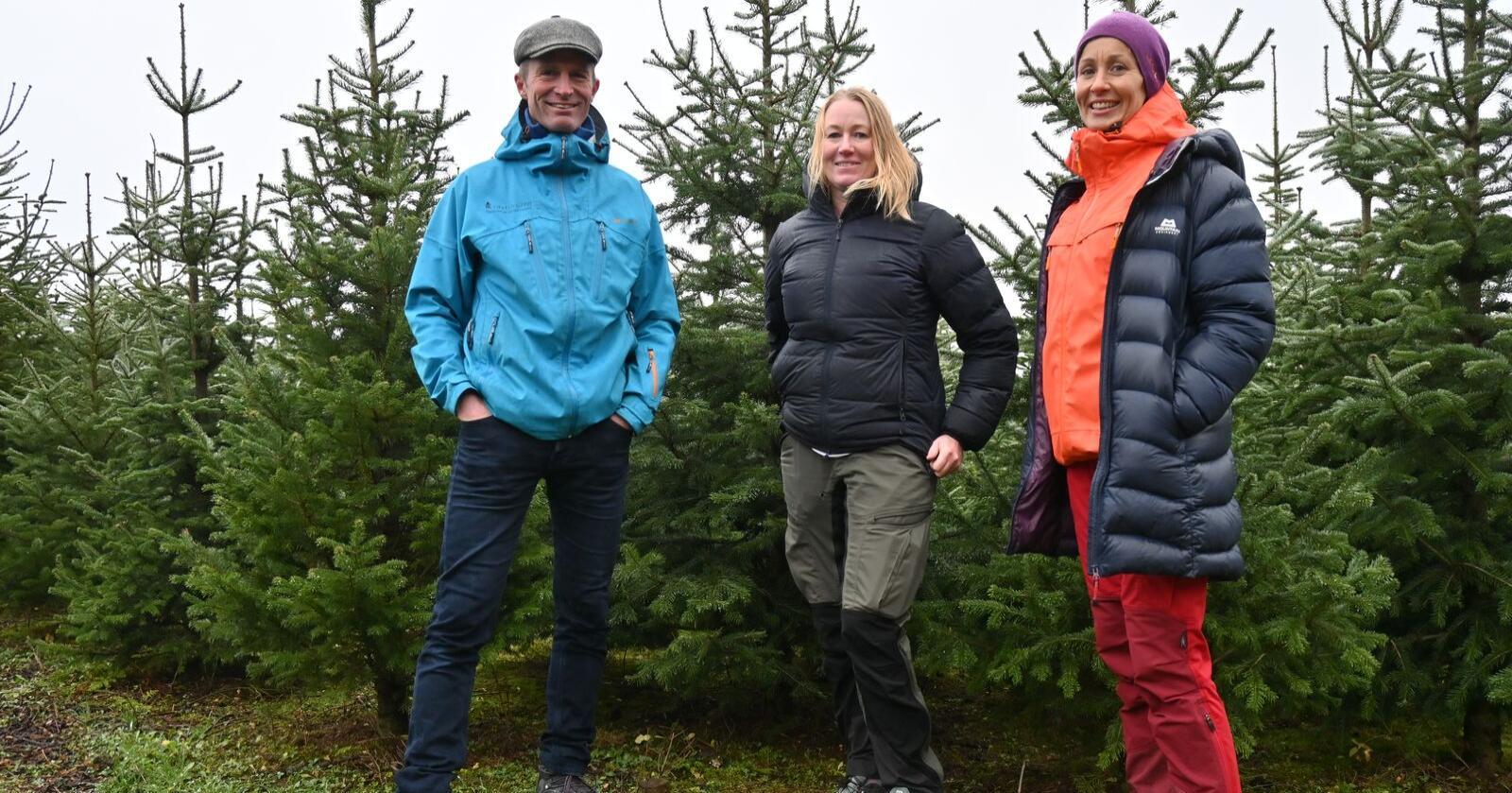 JULETREFANS: Her er tre som ivrer for juletreproduksjon, lokalt og nasjonalt. Daglig leder i Norsk Juletre, Heidi Amundsen, i midten, flankert av juletreprodusentene Arne Wilhelm Omsted og Kjersti Rinde Omsted.