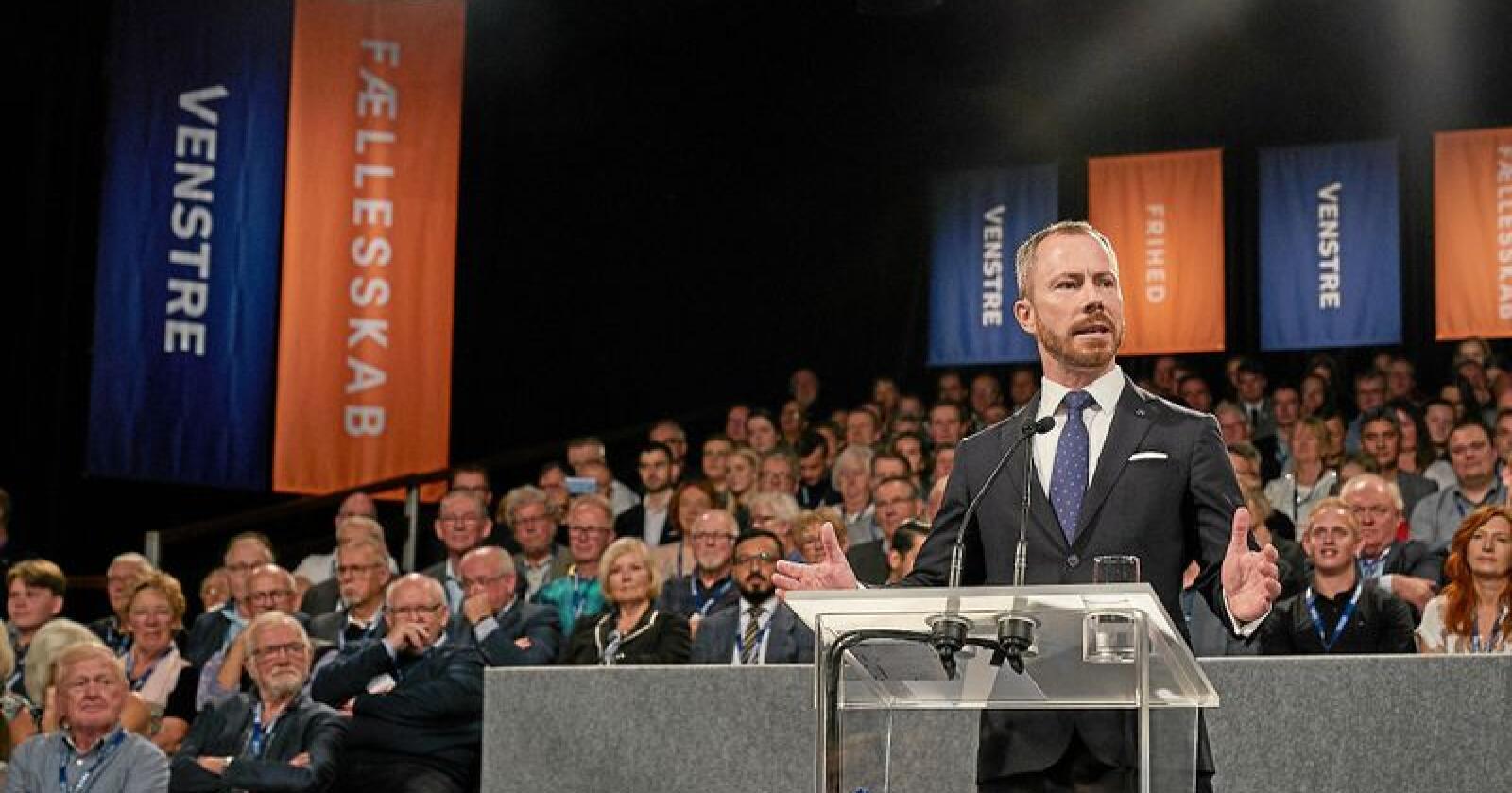 Jakob Ellemann-Jensen er valgt som ny leder av Danmarks største opposisjonsparti, Venstre. Foto: Henrik Bjerregrav / Venstre