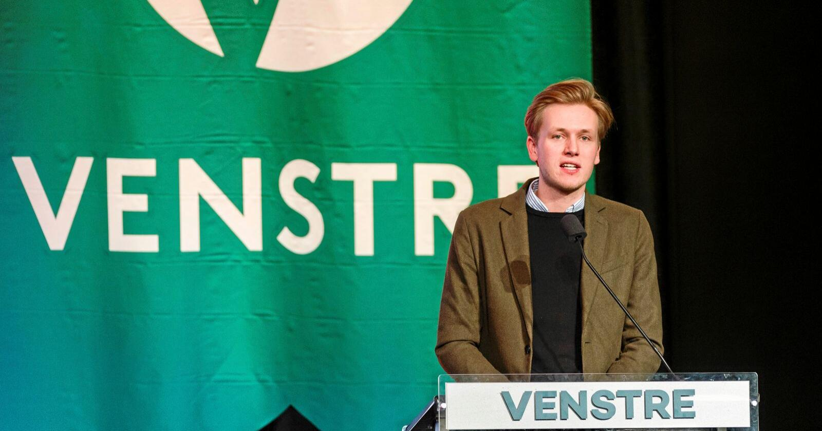 Omkamp: Unge Venstres leder Sondre Hansmark mener partiet ble forledet av lakselobbyen, og varsler omkamp om grunnrenteskatt. Foto: Ned Alley/NTB scanpix