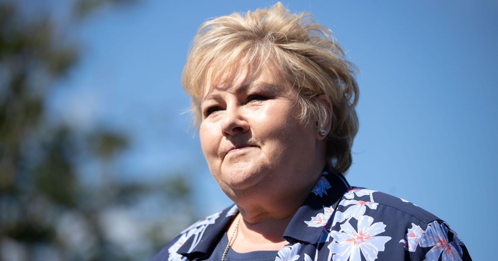 Statsminister Erna Solberg (H) tar et politisk oppgjør med MDG. Foto: Hanna Johre / NTB