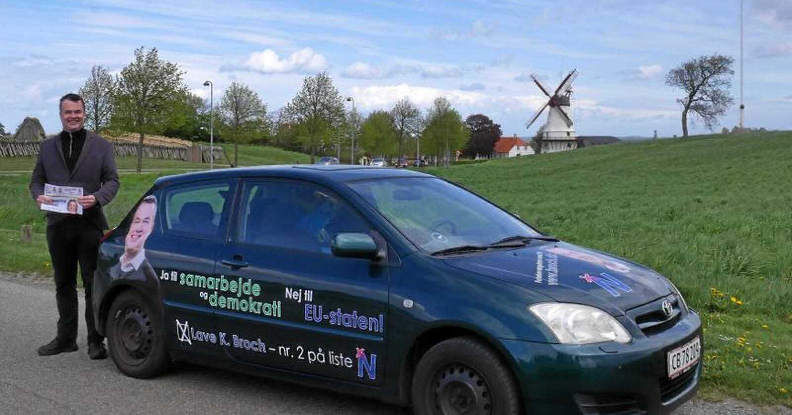 Lave Broch reiser Danmark rundt for å samle støtte til ein plass i EU-parlamentet. Foto: Privat
