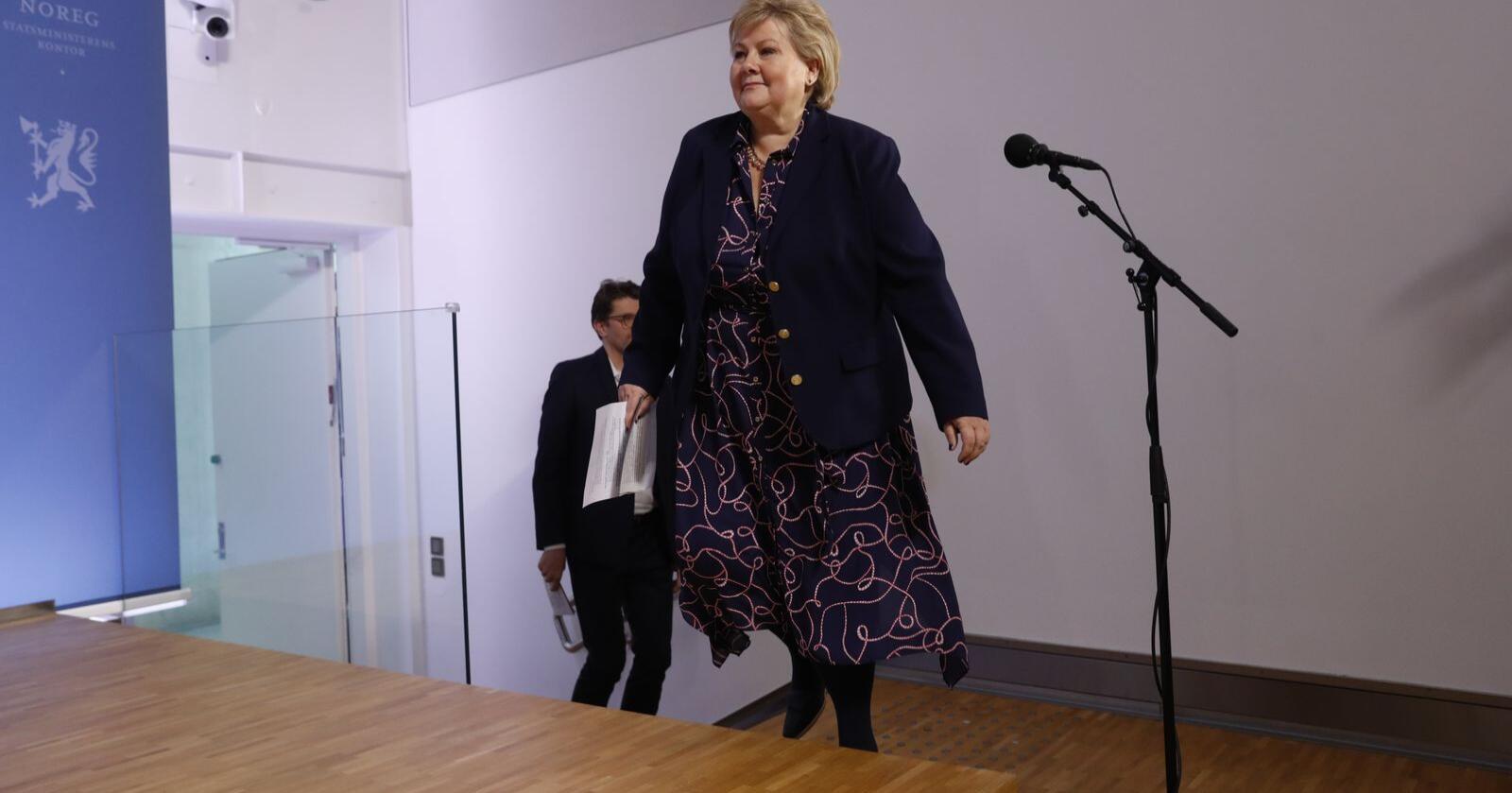 Erna Solberg kommenterte Frps regjerings-exit mandag. Foto: Terje Bendiksby / NTB scanpix