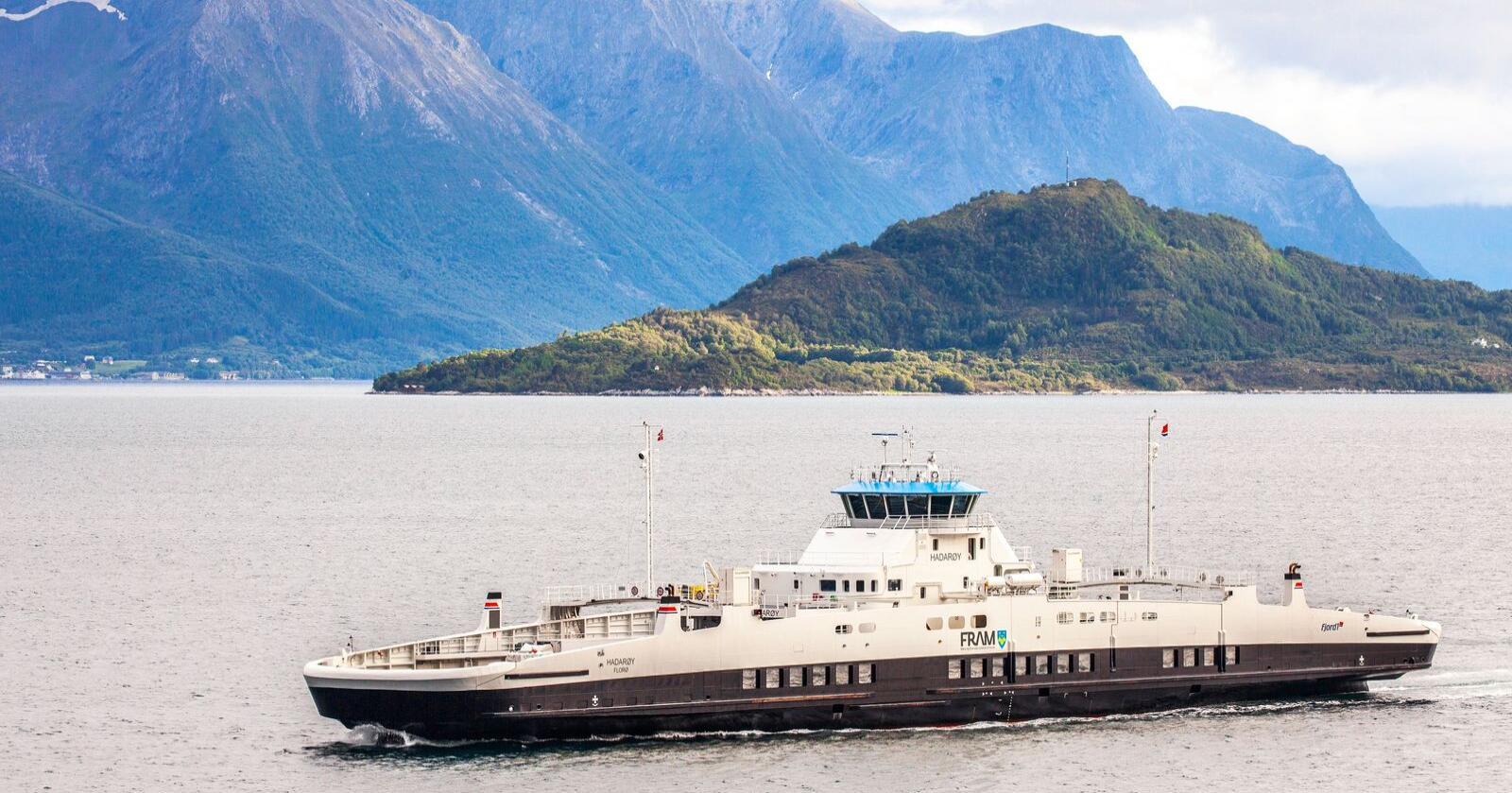 """Bilfergen MF """"Hadarøy"""" fra Fjord1 trafikkerer fergestrekningen Hareid - Sulesund  i Møre og Romsdal. Foto: Halvard Alvik / NTB"""