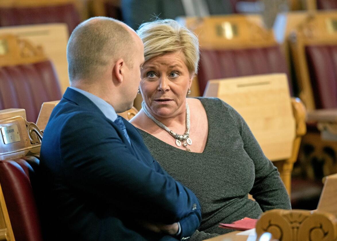 Leder Siv Jensen og hennes Frp vil kjempe for å vinne tilbake velgere partiet har tap til Trygve Slagsvold Vedumog hans Senterparti. Foto: Ole Berg-Rusten/NTB Scanpix