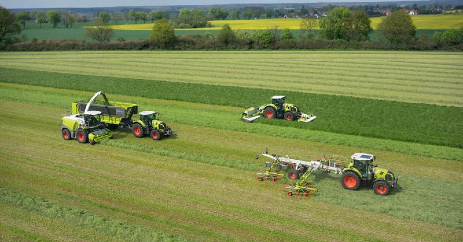 På Claas Grascamp vises flere ulike mekaniseringslinjer for grashøsting. (Foto: Norwegian Agro Machinery AS)