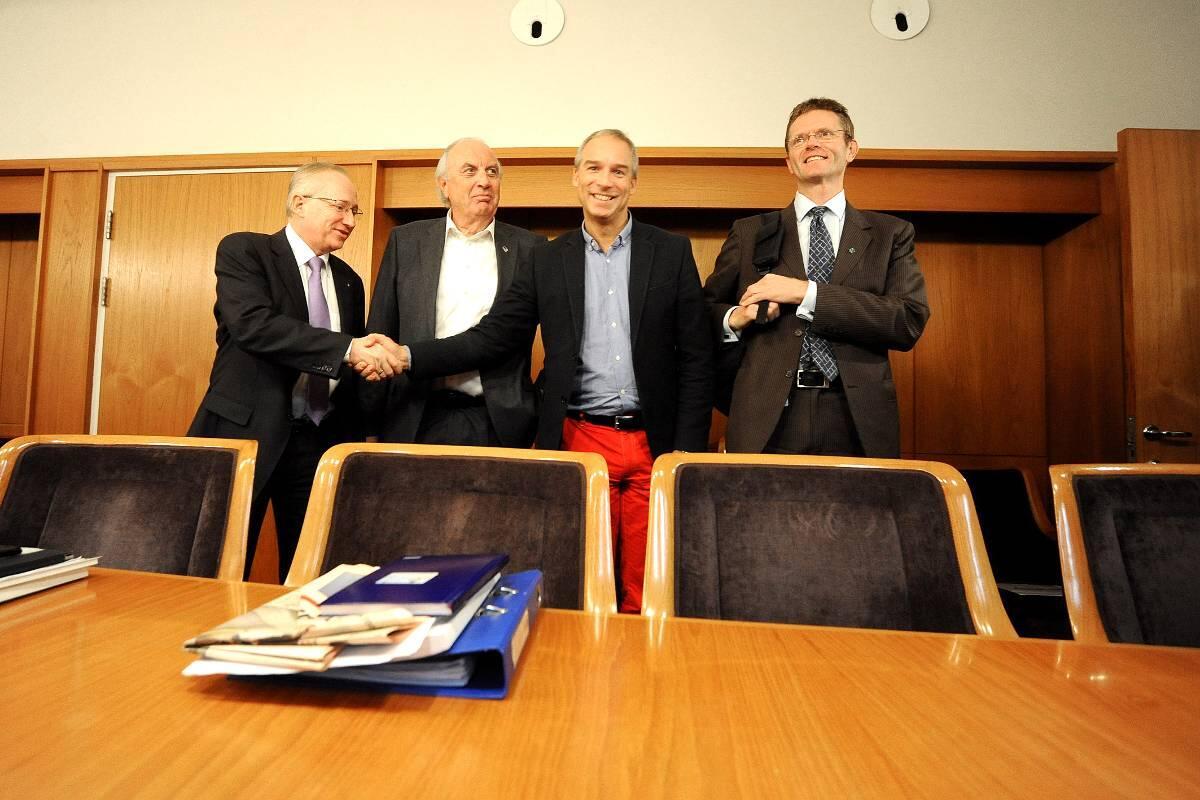 Budsjettforhandlinger: Samarbeidspartienes ledende finanspolitikere startet i går           forhandlingene om statsbudsjettet for 2014. Fra venstre Gjermund Hagesæter (Frp), Svein Flåtten (H), Hans Olav Syversen (KrF) og Terje Breivik (V).
