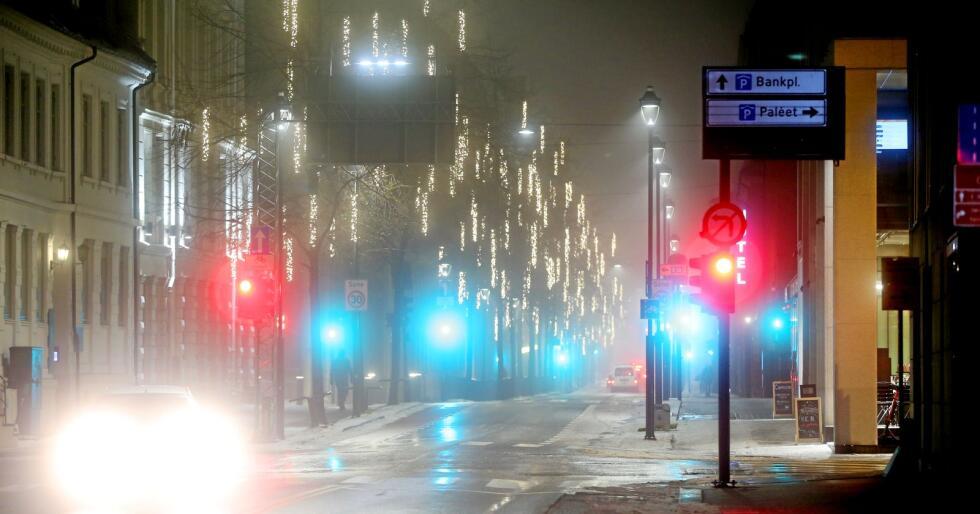 Mykje lys: Vi bør slå av gatelys og reklameskilt. Foto: Ørn E. Borgen / NTB scanpix