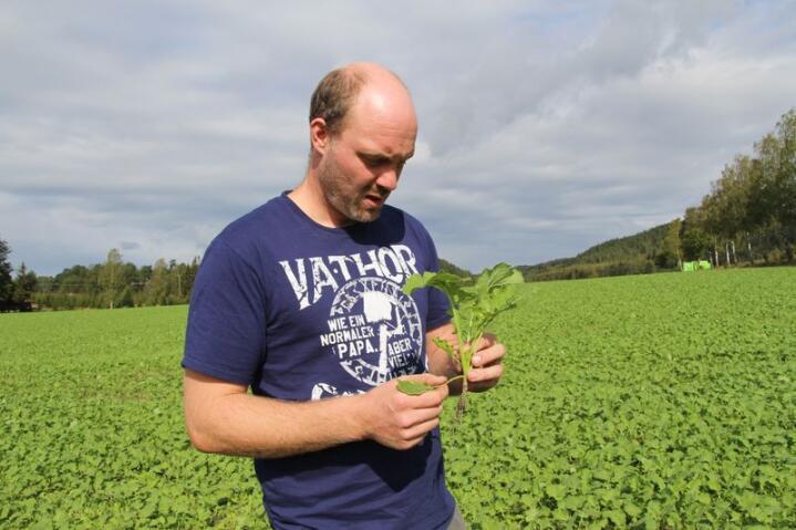 Jakob Volent driver produksjon av korn, oljevekster og bønner sammen med samboeren Manuela.  Foto: Kristin Bergo