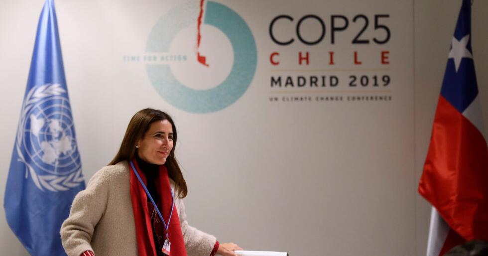 Chiles miljøminister og leder for COP25, Carolina Schmidt, på en pressekonferanse i forkant av klimamøtet i Madrid. Foto: AP / Manu Fernandez / NTB scanpix