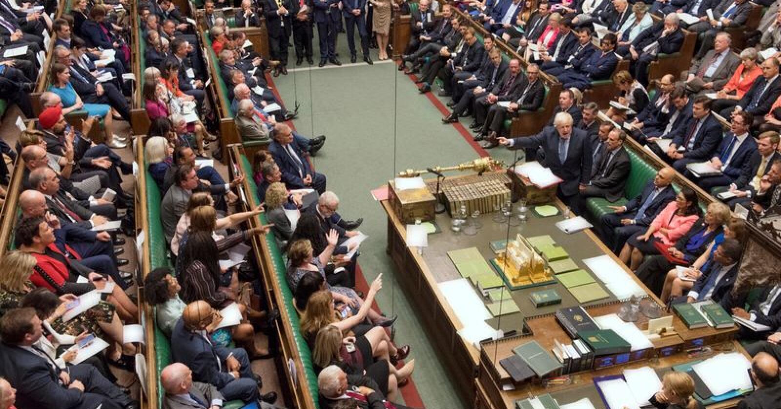 Hele Underhuset fungerer som komité i neste trinn av behandlingen av forslaget om å be EU om en utsettelse av brexit. Foto: Jessica Taylor / Underhuset / AP / NTB scanpixorb