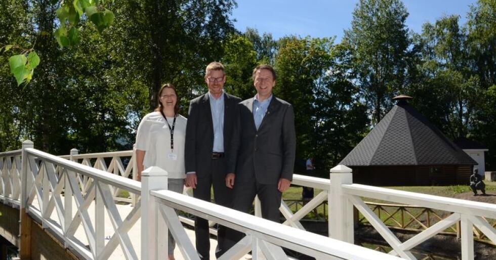 Frøydis Haugen, Bjørn Gimming og Lars Petter Bartnes under årsmøtet i Bondelaget 2018. Bartnes har vært bondelagsleder siden 2014. (Foto: Linda Sunde)