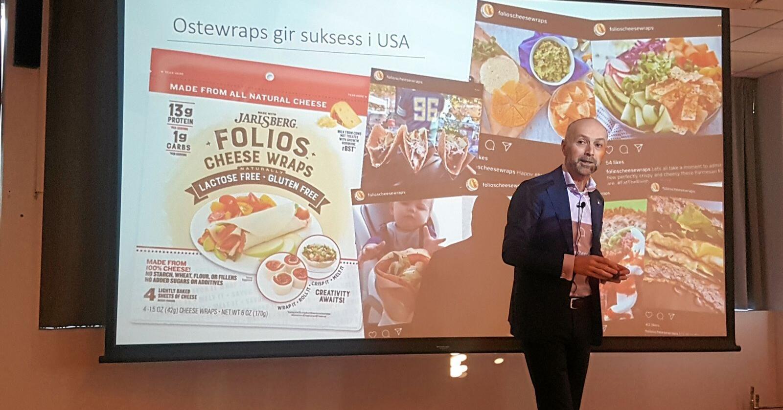 Cheese Wraps med Jarlsberg gjev suksess i USA, ifylgje konsernsjef Gunnar Hovland i Tine. Men Tine tente berre 12 millionar kroner internasjonalt i fjor. Foto: Hilde Lysengen Havro