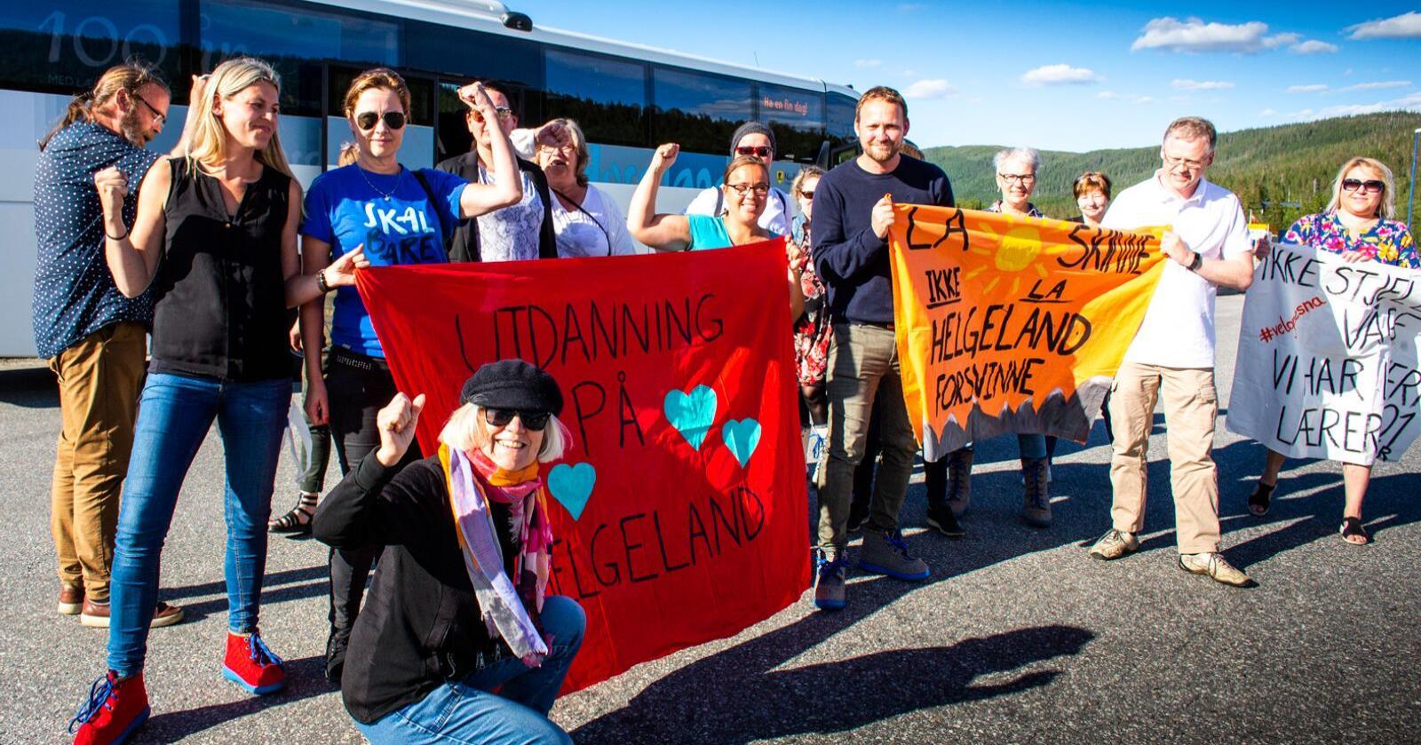 Det var store demonstrasjoner på Helgeland da Nord Universitet vedtok å legge ned høgskoletilbudet på Nesna i 2019. Foto: Hans Petter Sørensen / Folkeaksjonen for høyere utdanning på Helgeland / NTB
