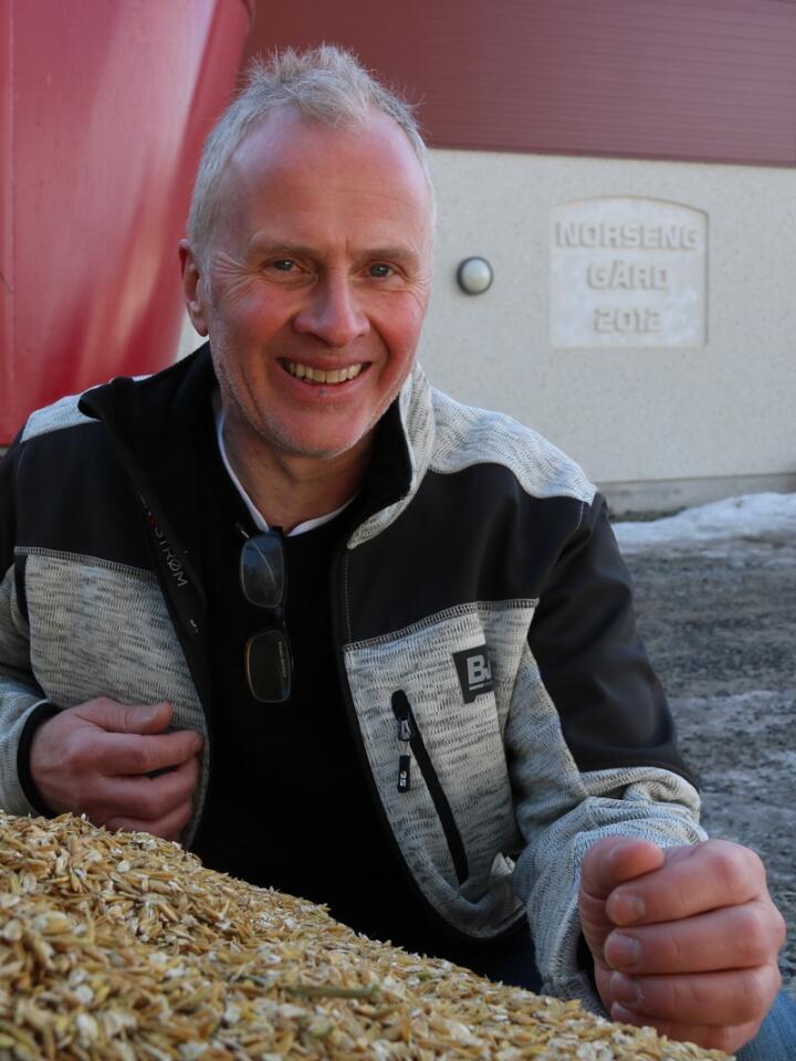 EFFEKT: Tore Nordli har fortsatt å bruke alkalisert havre i fôrmiksen også etter forsøket, men har trappet ned til 2,5 kilo per ku i stedet for 4,5 kilo. Den positive effekten har han beholdt.