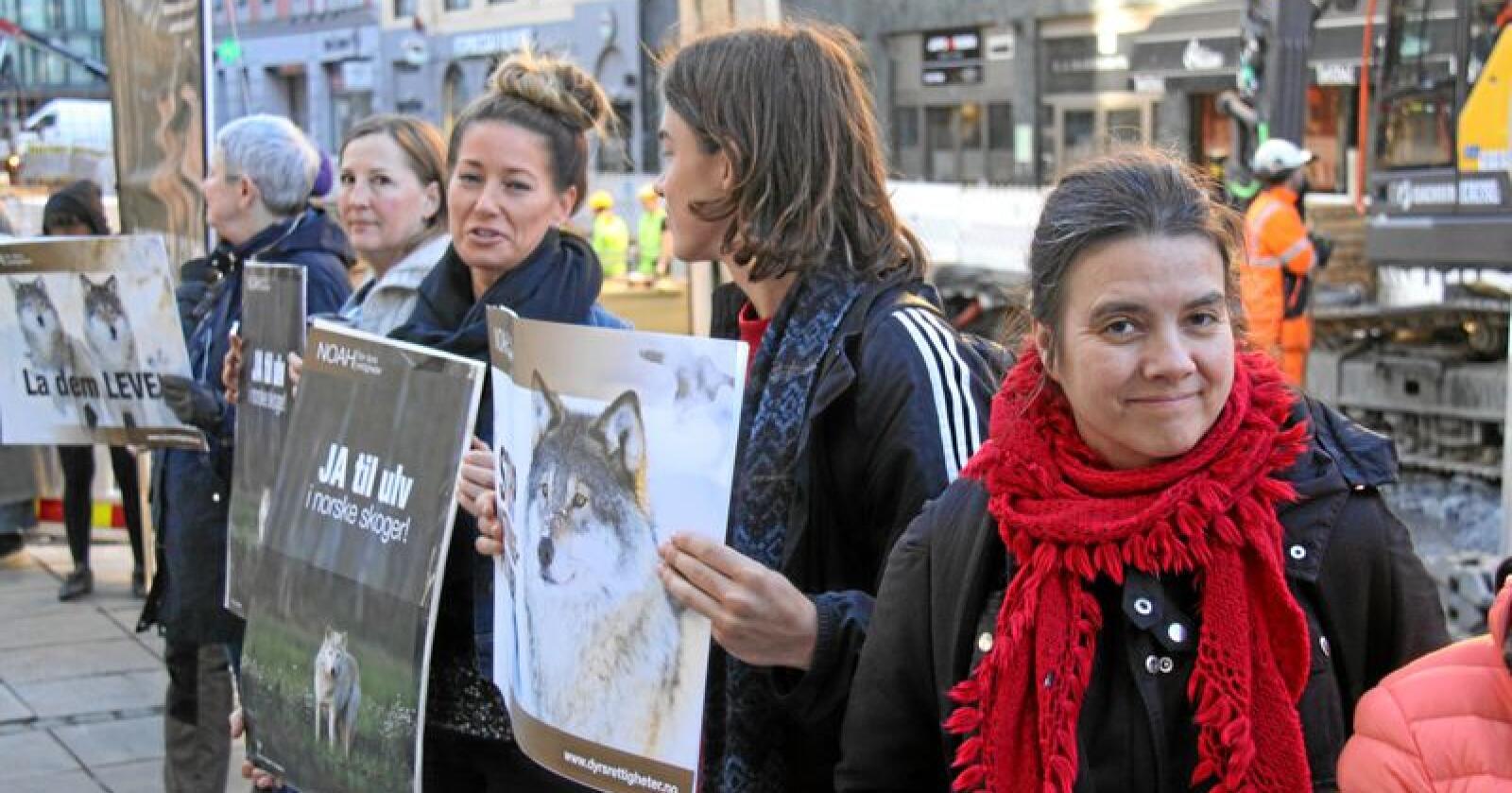NOAH-leder Siri Martinsen fotografert utenfor Tinghuset i Oslo under en markering da organisasjonen WWF hadde trukket staten for retten i forbindelse med lisensjakt på ulv i fjor. Foto: Svein Egil Hatlevik