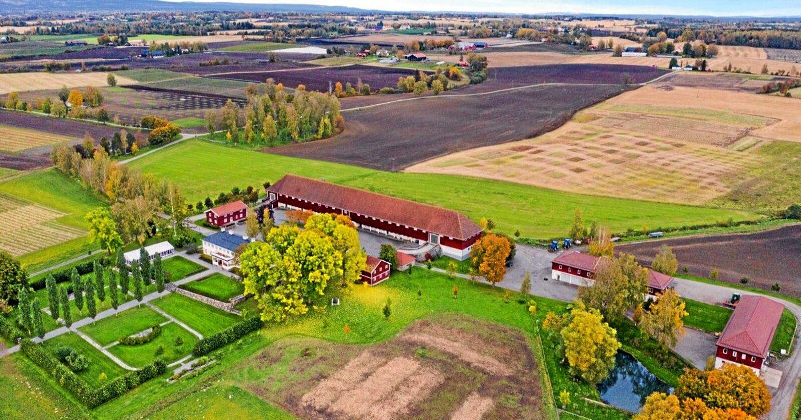 Staur Gård i Stange ble solgt i 2019. Foto: Tegneby & Grønnerød Landbruksmegling