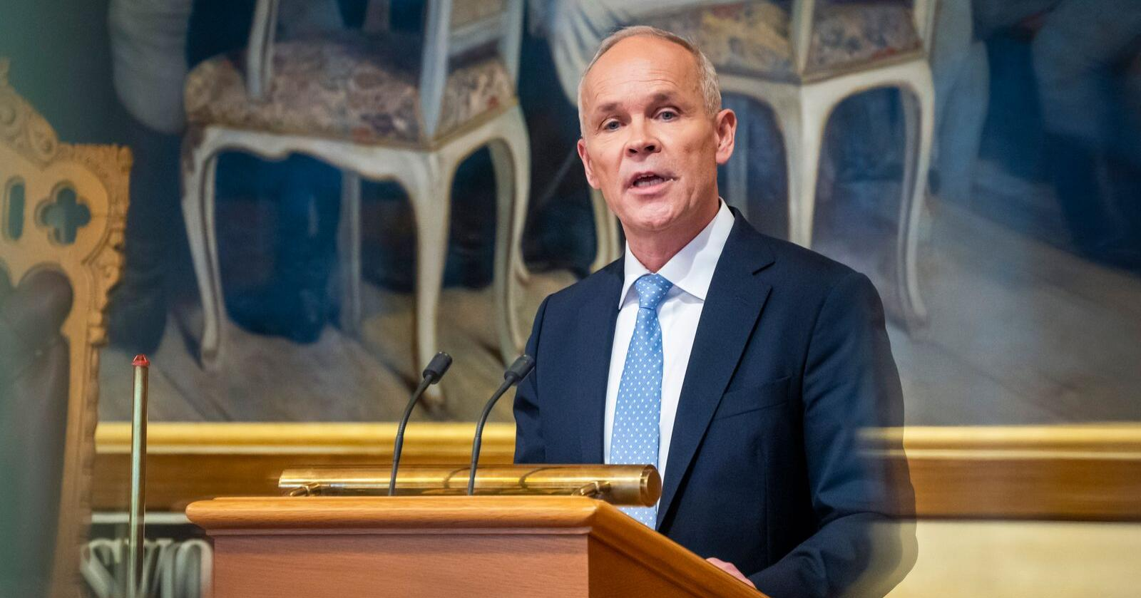 Jan Tore Sanner under framlegginga av statsbudsjettet onsdag. Foto: Heiko Junge / NTB