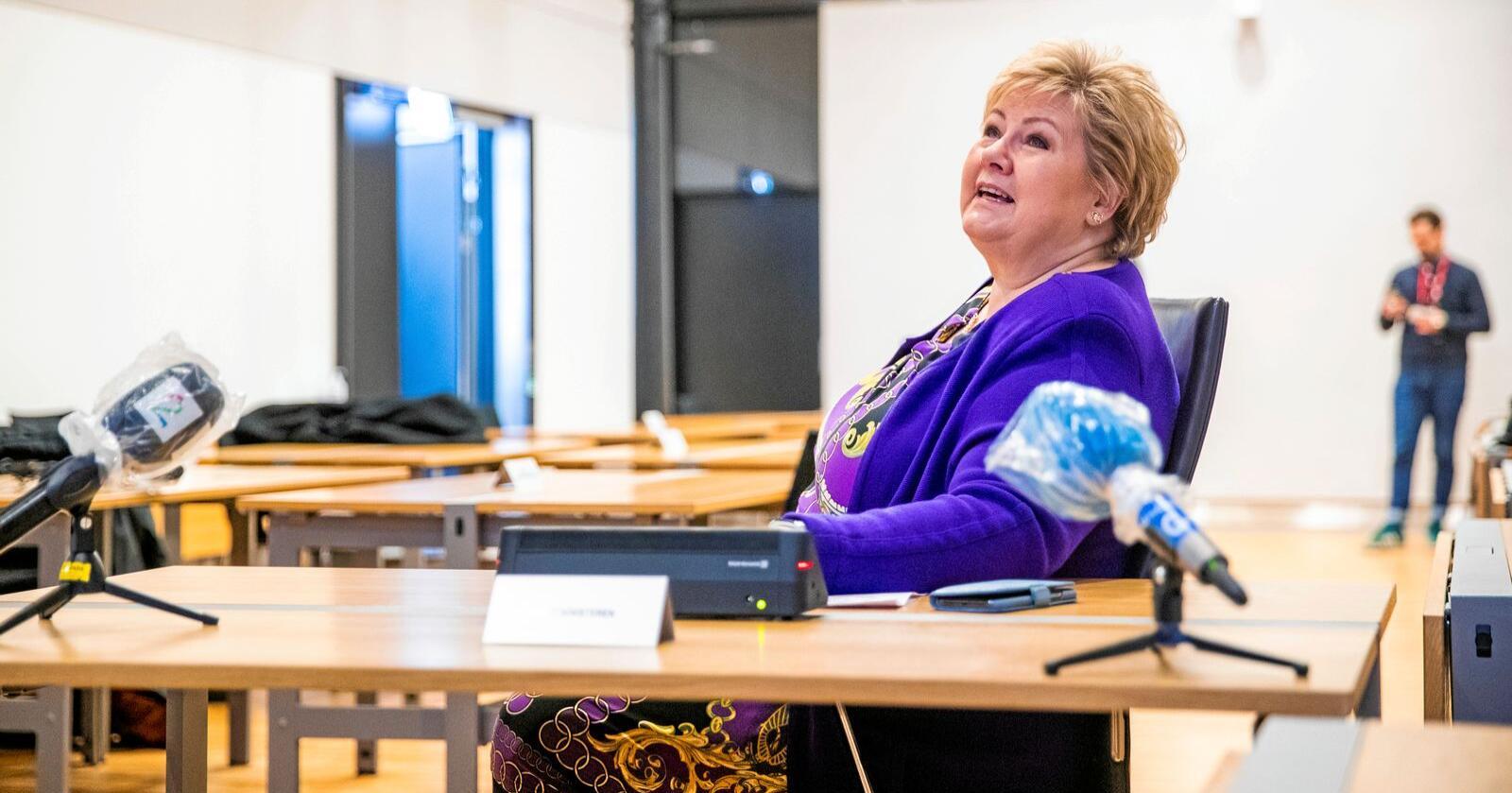 Statsminister Erna Solberg og Høyre opplever framgang på Norstats gallup etter utbruddet av koronaviruset i Norge. Foto: Håkon Mosvold Larsen / NTB scanpix
