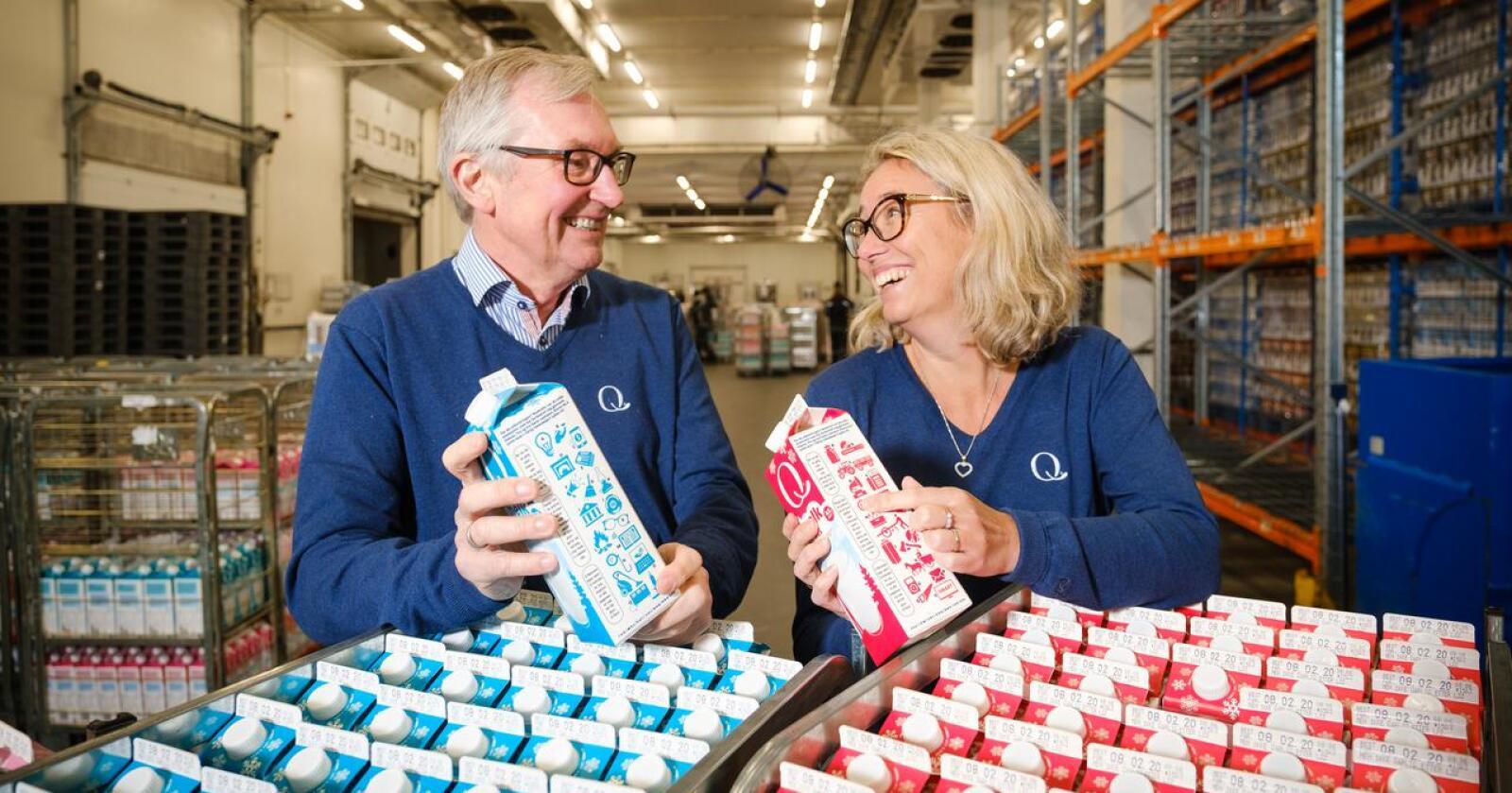 Viktig: Prisutjevningen er veldig viktig, mener adm. dir. Bent Myrdahl og styreleder Kristine Aasheim i Q-meieriene. Men uten konkurransefremmende tilskudd må de ut, sier de. (Foto: Q-meieriene)