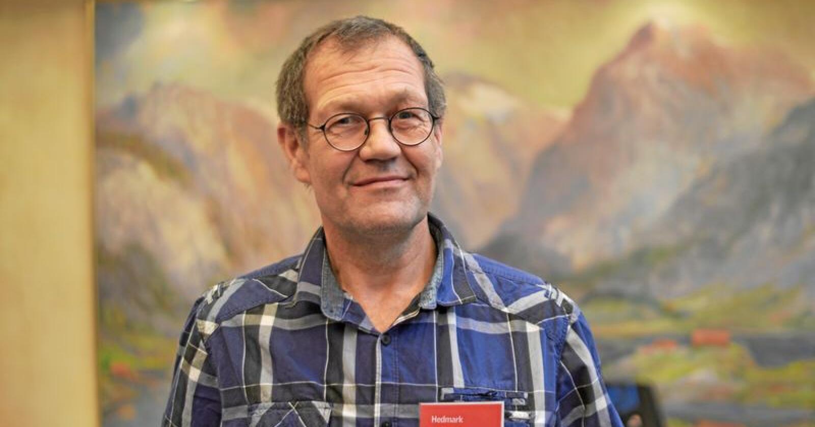 Ståle Støen er nestleder i Hedmark Bonde- og Småbrukarlag. Han driver gård i Folldal kommune. Foto: Tori Aarseth / Nei til EU