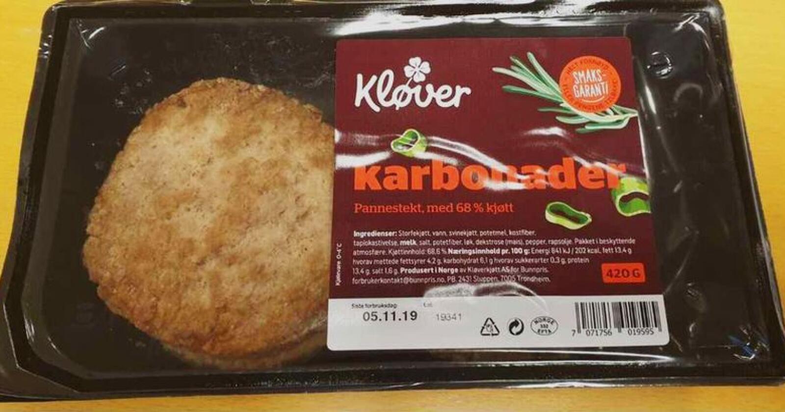 Kløverkjøtt AS trekker tilbake produktet Pannestekte karbonader. Årsaken er funn av listeria. Foto: Matportalen.no / NTB scanpix