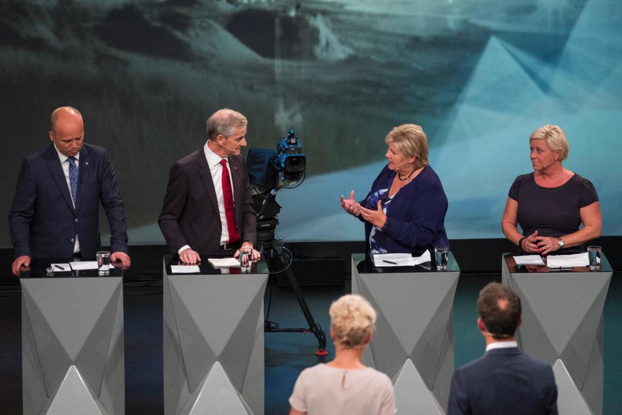 Avspark: Partilederdebatten handlet om blant annet skatt, velferd, innvandring og norske verdier. Foto: Tor Erik Schrøder/NTB scanpix