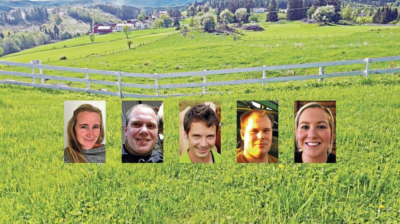 Finalister: (Fra venstre) Cecilie Nilsen, Einar Kiserud, Lars Johan Flatebø, Markus Heiberg og Marthe Bogstad konkurrerer om å bli Årets unge bonde 2017. (Foto: Årets unge bonde)