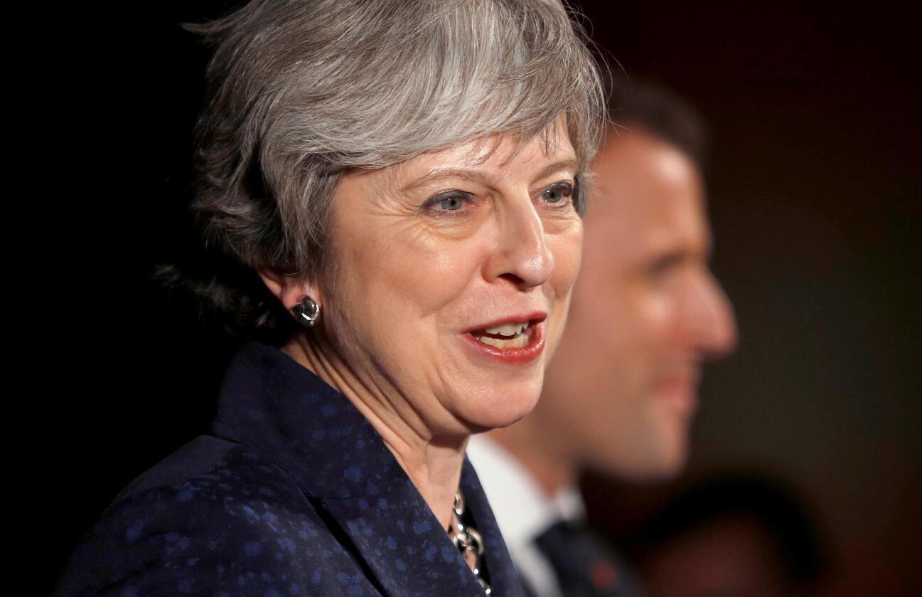 Storbritannias statsminister Theresa May opplever lavere vekst. Foto: Peter Nicholls/Pool via AP