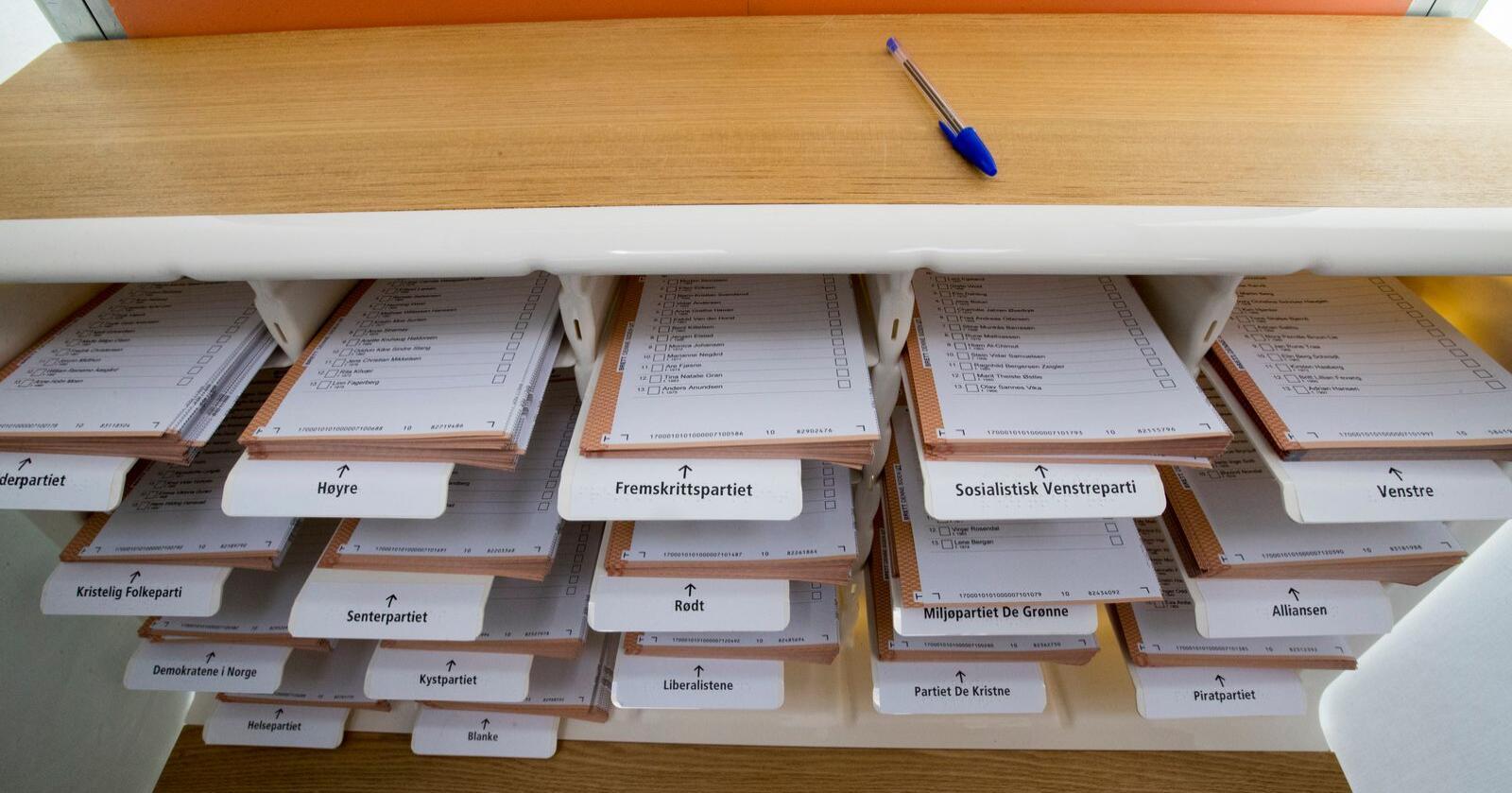Valdagen er 13. september, men du kan førehandsstemme frå 10. august. Arkivfoto: Terje Pedersen / NTB / NPK