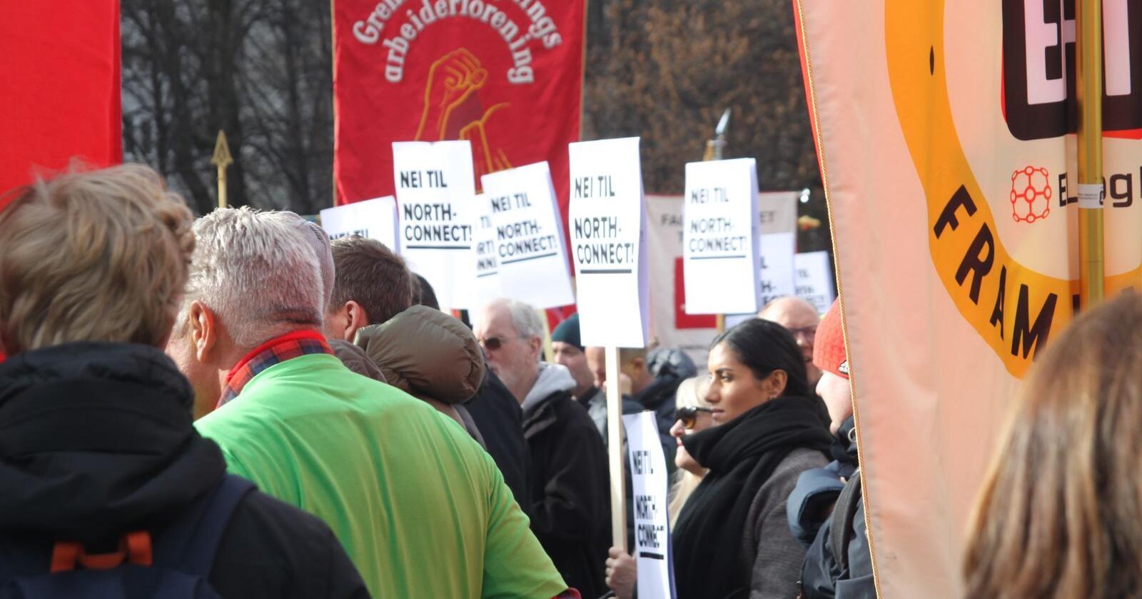 Demonstrasjon mot NorthConnect utenfor Stortinget. Foto: Henrik Heldahl