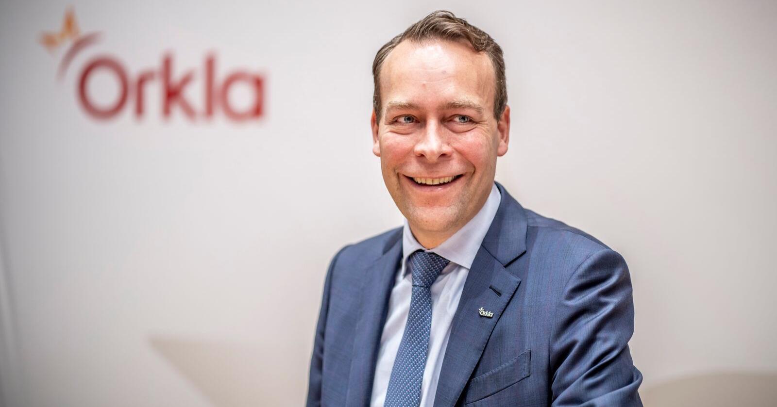 Konsernsjef Jaan Ivar Semlitsch i Orkla sier at starten på året for selskapets merkevarevirksomhet har vært positiv. Foto: Ole Berg-Rusten / NTB