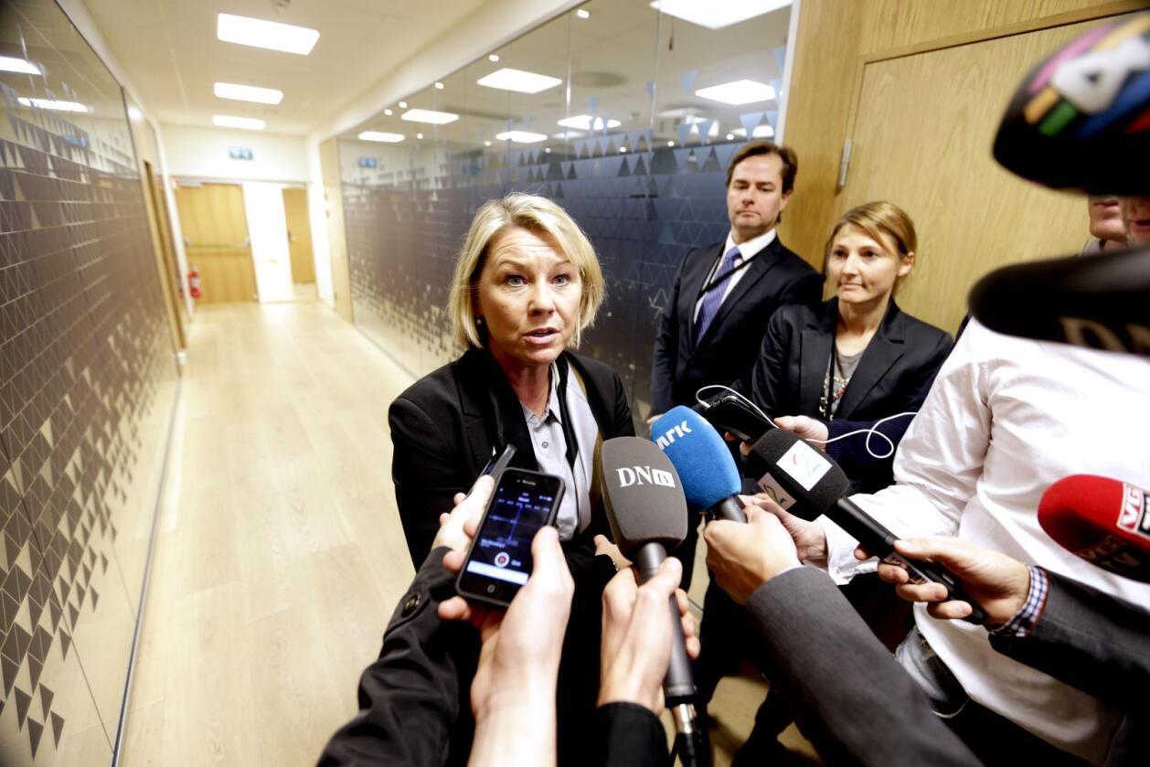 Næringsminister Monica Mæland (H) etter møte i Næringsdepartementet. Foto: Vidar Ruud / NTB scanpix