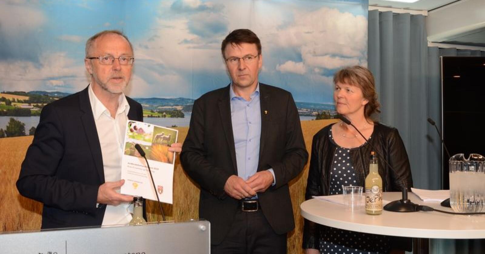 Slutter: Leif Forsell var statens forhandlingsleder i jordbruksforhandlingene også i 2019. Da møtte han Lars Petter Bartnes og Kjersti Hoff. (Foto: Linda Sunde)
