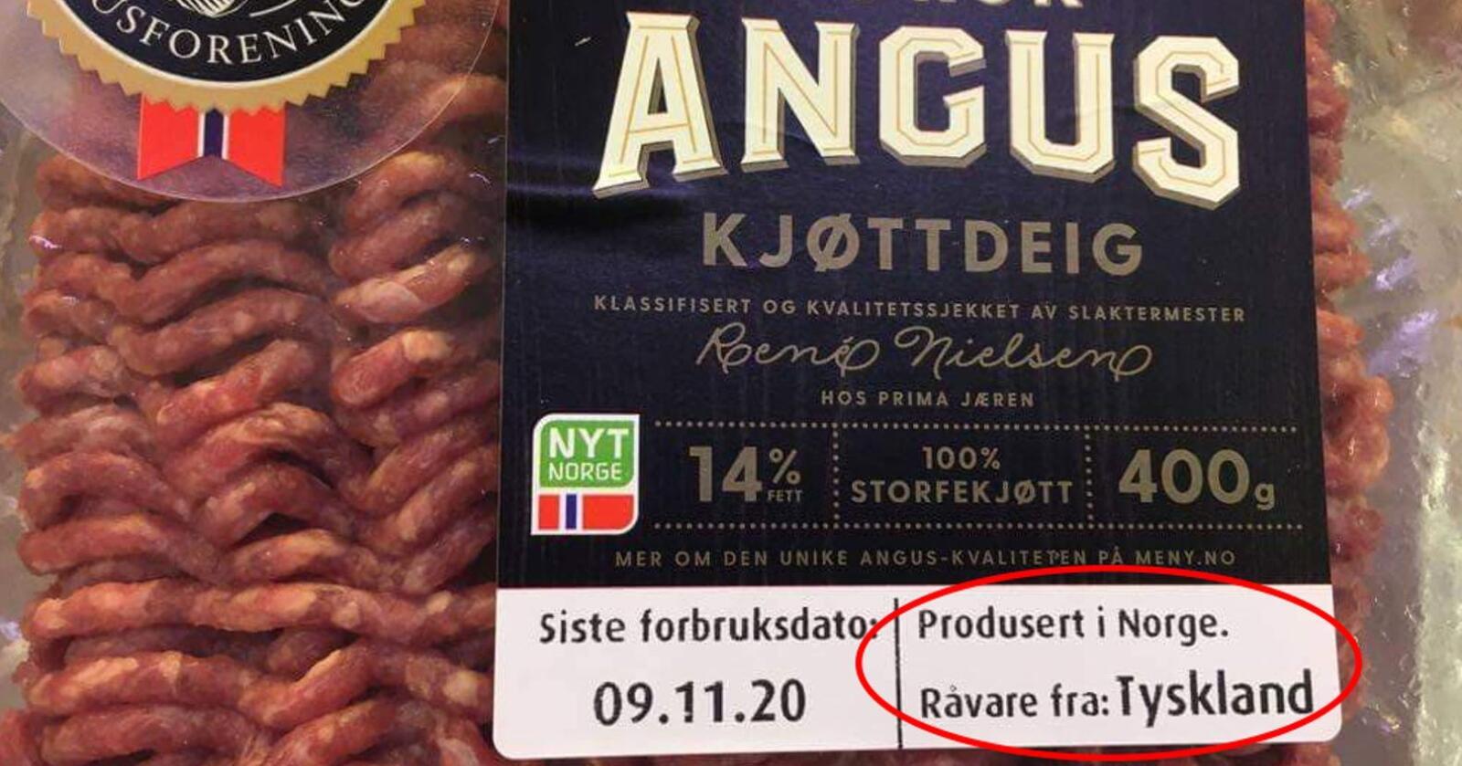 Ragnhild Nokevje fra Skien publiserte dette bildet på Facebook. Anguskjøttdeigen er 100 prosent norsk og er derfor kvalitetsstemplet med Nyt Norge. Feilen er at Norfersk har merket emballasjen med Tyskland som opprinnelsesland. Foto: Privat