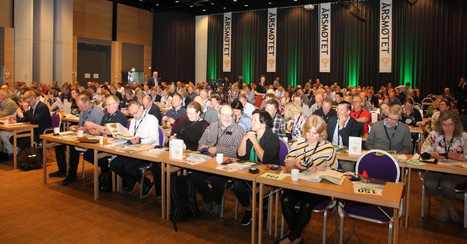 Bondelaget vil aller helst gjennomføre et fysisk årsmøte og avventer nye råd fra smittevernmyndighetene. Bildet er fra Bondetinget på Lillehammer i fjor. (Foto: Iver K. Gamme)