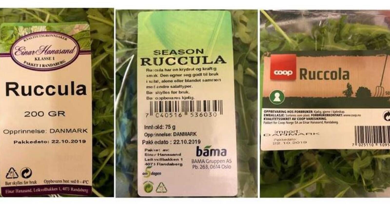 450 kilo ruccolasalat trekkes fra markedet etter påvisning av E.coli. Foto: Matportalen.no