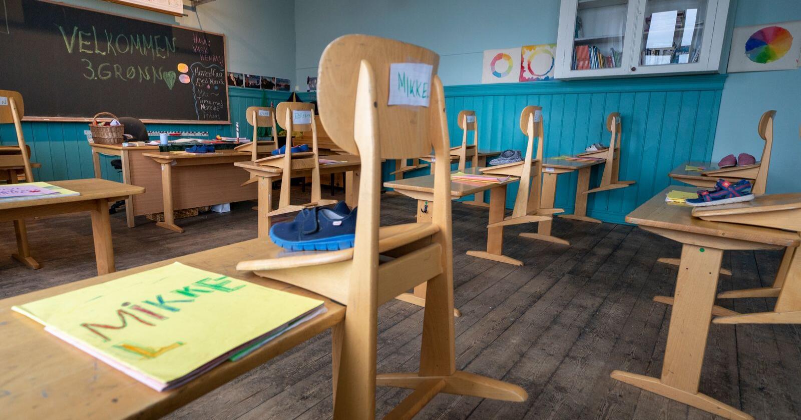 På grunn av koronapandemien ble samtlige skoler stengt 12. mars. 11. mai ble skolene åpnet igjen. Illustrasjonsfoto: Heiko Junge / NTB scanpix