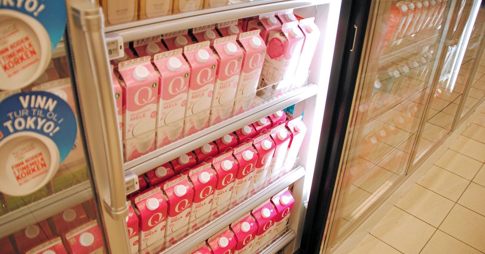 I butikkene i dag finner man melk fra både tine, Q og Rørosmeiriene. Foto: Lars Bilit Hagen