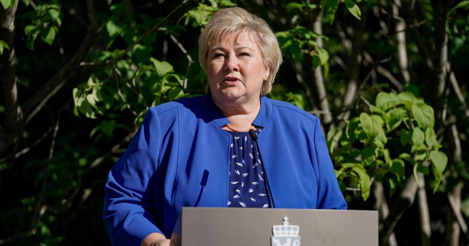 Statsminister Erna Solberg kommenterer resultatet etter stortingsvalget i regjeringens representasjonsanlegg. Foto: Stian Lysberg Solum / NTB