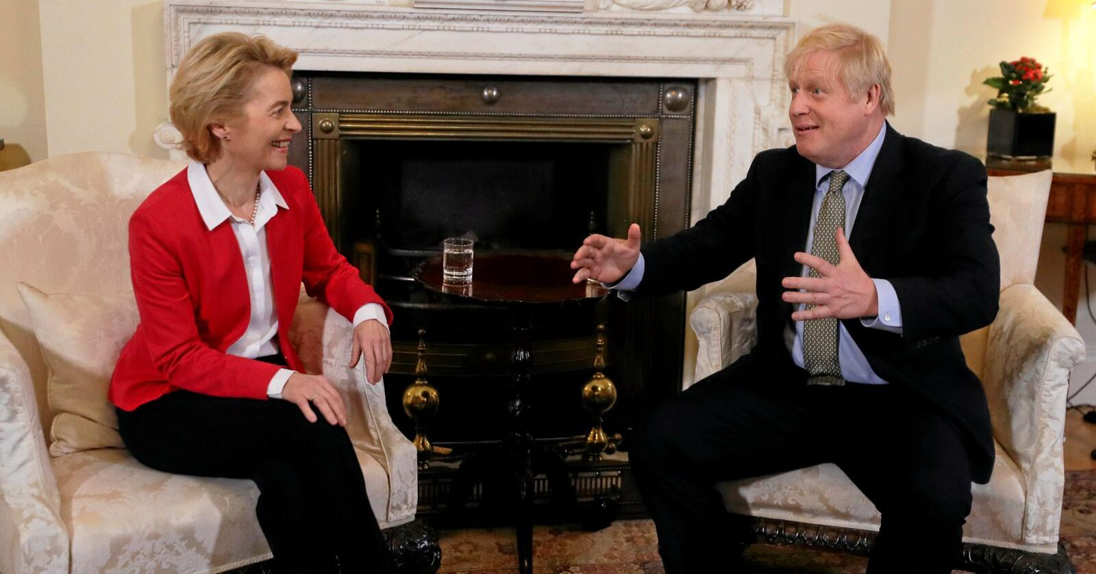 Storbritannias statsminister Boris Johnson tok imot EU-kommisjonens president Ursula von der Leyen i Downing Street i London onsdag. Foto: Kirsty Wigglesworth / AP / NTB scanpix